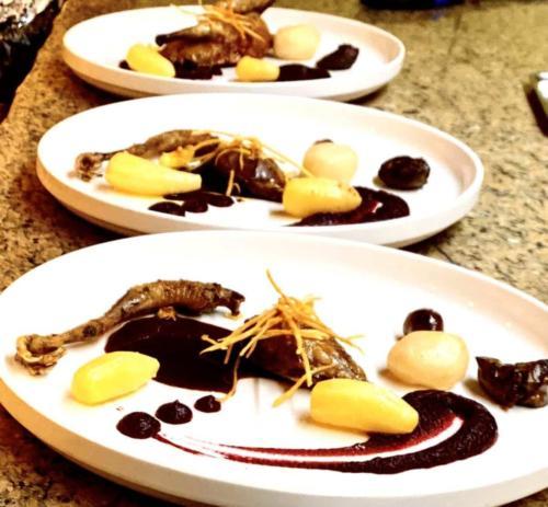 Pigeonneau, racines de légumes et sauce vin rouge